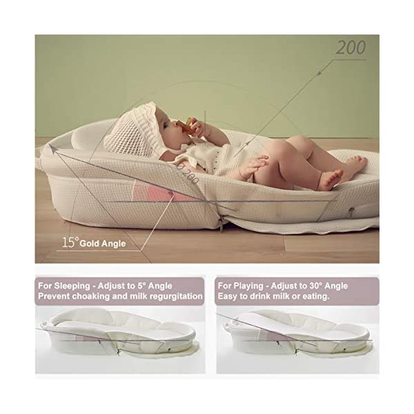 Bebamour Travel Cot Baby Sleeping Pod Baby Bed Foldable Bassinet for Bed Bionic Travel Bed Womb-Like Protector Baby Snuggle Nest Bed Baby Sleeping Pods for 0-36 Months (Pink) bebear 【Breathable & Washable】Thousands of mesh holes and elastic layer maintain air circulation. The baby sleep pod can offer your baby good breathing environment when he sleeping. It also can be taken apart to wash in the washing machine. Even after repeated washing, its zipper will remain well . The detachable structure makes the baby bed be very convenient for you to clean. 【Adjustable & Foldable】The slope of the head position of the baby bed can be adjusted from 5 to 30 degrees, it is not only suitable for sleeping, but also can be a baby bean bag. The folding design is easy to carry when you travel outside. 【Soft Pad & Inside Dimensions】This baby bed comes with an extra soft foldable cushion. You don't have to add anything extra to make your baby feel comfortable. The plastic frame is BMC material which is very light and firm, it can provide good support when the baby lies down. Its dimension: 32.7''long x 13.8''wide x 4.7''tall. 4