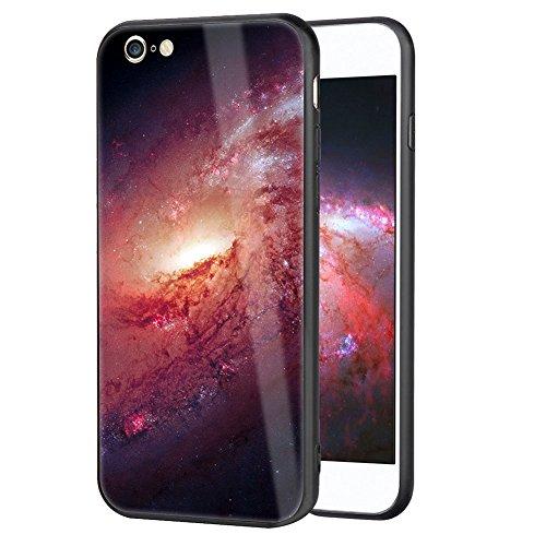 Preisvergleich Produktbild Girlyard Glas Hülle für iPhone 6S, 3D Schön Bunt Sternenhimmel Muster Hart PC Panzerglas Zurück Schutzhülle mit Weiche TPU Silikon Rahmen Design Handyhülle Anti-Rutsch Kratzfest für iPhone 6/ iPhone 6S (4,7 Zoll) - Rosa