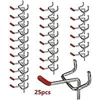 King Do Way – Lote de 25 ganchos de metal de 50 mm para paneles perforados - Bricolaje