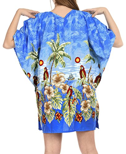 La Leela Bademode Bikini Strand verschleiern Badebekleidung Badeanzug Kaftan Top-Frauen der roten Bluse Blau