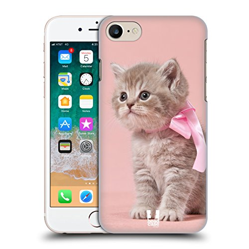 Hülle + Folie superdünn Polycarbonat Displayschutzfolie für Apple iPhone 6 Plus/6S Plus/7 Plus/8 Plus Hard Snap on Back Cover Pink Cute Katze/Kitty/Kätzchen mit Schleife