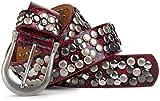 styleBREAKER Schlangenleder Optik Nieten Gürtel im Vintage Style mit echtem Leder, kürzbar 03010008, Farbe:Rot;Größe:85cm