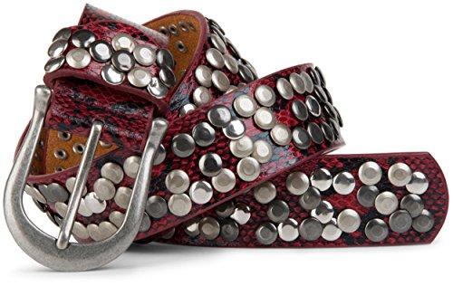 styleBREAKER Schlangenleder Optik Nieten Gürtel im Vintage Style mit echtem Leder, kürzbar 03010008, Farbe:Rot;Größe:90cm