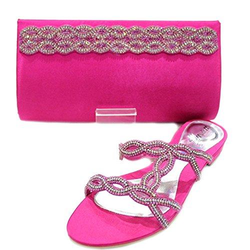 W & W femmes Mesdames cristal Diamante chaussures et sac assorti Taille (Roxi & Maxi) Rose fuchsia
