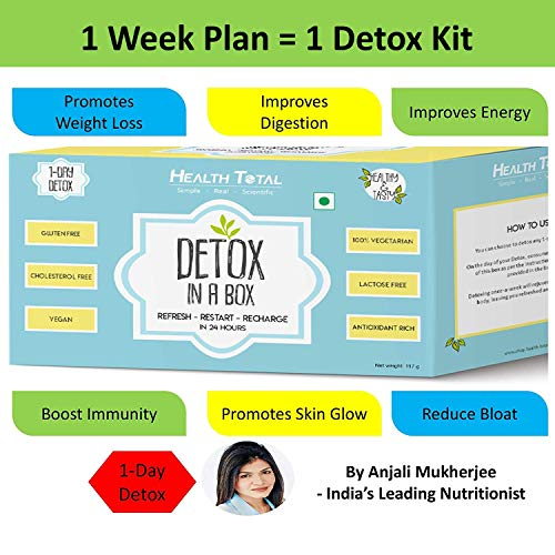 Health Total 1-Day Detox in Box by Anjali Mukerjee (1 Week Weight Loss Diet Plan Included) – 1 Box Contains 11 Packs – Pack of 1 Box