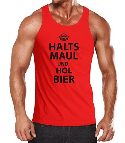 Herren Tanktop Halts Maul und hol Bier Moonworks® Hol Bier rot