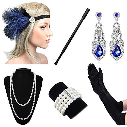 1920er Jahre Zubehör Set Flapper Kostüm Stirnband Handschuhe Zigarettenspitze Halskette ()