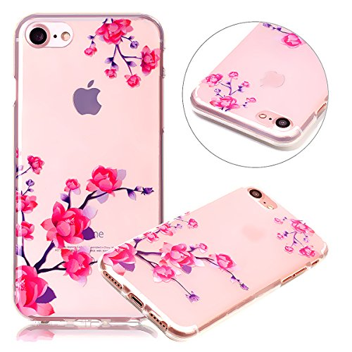 Cover iPhone 7 Silicone TPU Surakey Custodia Trasparente per iPhone 7 / 8 Apple, Elegante Campanula Farfalla Teschio Colorato Morbida Cover iPhone 8 Gel Gomma Silicone Ultra Sottile Case Apple Cellula Fiore
