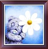 sunnymi Weihnachten 5D Diamond Painting ★Kürbiswagen Bär Wolf Gehorsam Hund Eule ★ Kreuzstich Living/Art und Weise Geklebte Stickerei DIY Malerei (Pudding Bär Feiern C, 30*30cm)