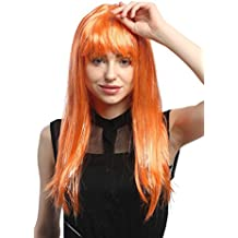WIG ME UP ® - XR-003-PC24 Peluca señoras Carnaval Largo Liso mechones