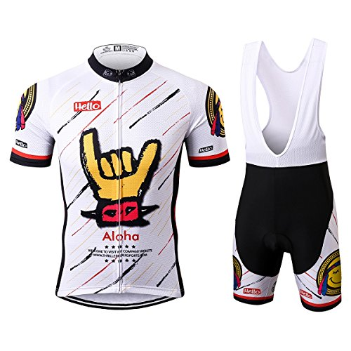 Thriller Rider Sports® Herren Aloha White Sport & Freizeit MTB Fahrradbekleidung Radtrikot und Trägerhose Anzüge 3X-Large