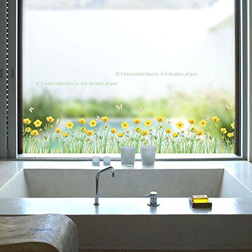 Badezimmer-jalousien-wand-schränke (Wandmalereien, Pvc Kleine Gelbe Blumen Sockelleisten Wandaufkleber Schränke Badezimmer Glastüren Und Fenster Farfalle Dekorative Wandtattoo)