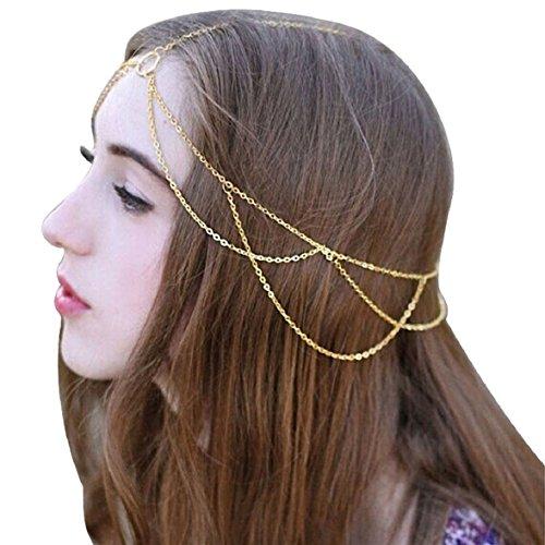 Ukamshop retro rein Quasten Schmuckkette Chain Stirnband Kopfschmuck Haarband neu