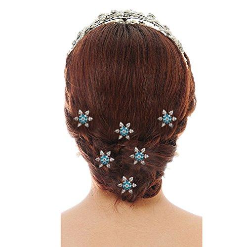 Pixnor 6 pcs Strass épingles à cheveux fête Bal Mariage Demoiselle d'honneur Clips (Bleu)