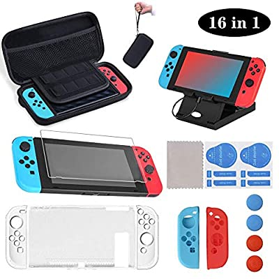 16 in 1 for Nintendo Switch Carrying Case & Accessories Kit Includes Carry Case, Screen Protector, Joy Con Protective Case, Adjustable Stand, Thumb Grip Caps for Nintendo Switch Controller & Console