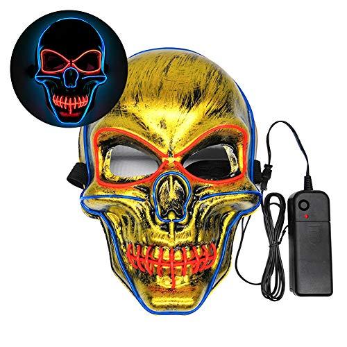 ZHUOHONG Halloween-Maske mit LED-Beleuchtung - schreckliches Kostüm für Halloween, Cosplay, Karneval, Partys, batteriebetrieben, - Einzigartige Gruppe Halloween Kostüm