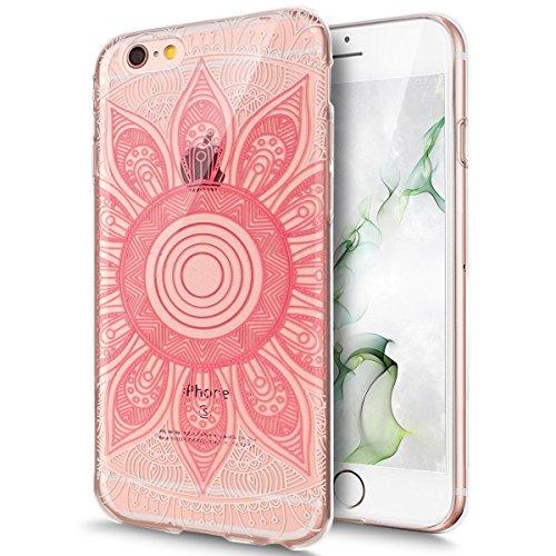 Coque iPhone 6, Étui iPhone 6S, iPhone 6/iPhone 6S Case, ikasus® Coque iPhone 6/iPhone 6S Étui Housse avec Mandala Fleur Papillon Hibou Couleur peinte Transparent TPU Silicone Étui Housse Téléphone Co Mandala rose