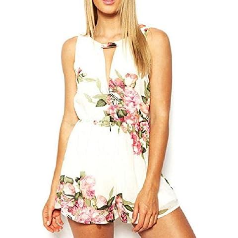 Culater Las mujeres de impresión floral del verano Backless sin mangas de la gasa del mono bragas