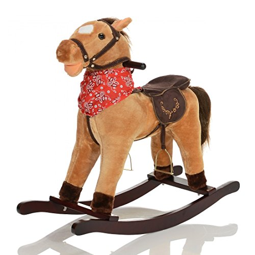 LCP KIDS grand Cheval a bascule GRANDOR en bois et peluche pour enfant - jouet avec des bruits de galop et des effet sonore - brun clair