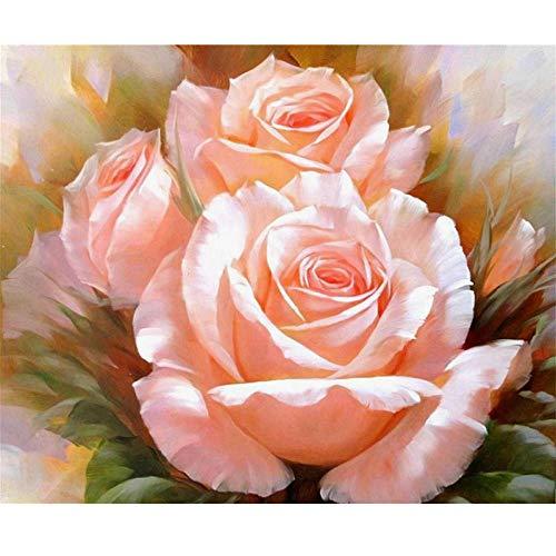 Rosen Stickerei (YUXAN 5D DIY Malerei Kreuzstich Kits Diamant Stickerei Mosaik Rosa Rose Muster Bild Wohnkultur Geschenk, 50X70cm)