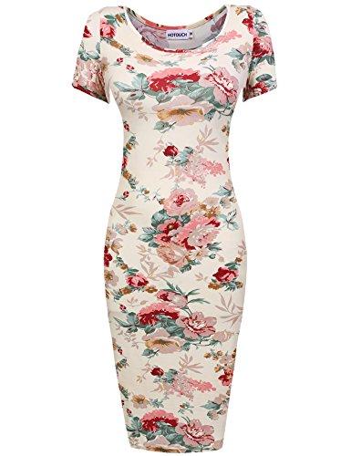 HOTOUCH Women Slim Fit Short Sleeve Floral Midi Dress Pencil Party Dresses