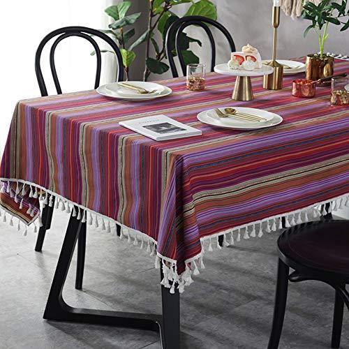 Amzali Vintage Bohemian Rainbow Quaste Tischdecke Baumwolle Leinen Stoff Staubdicht Tischdecke Küche Esstisch Dekoration, baumwolle, farbig, Square 55 X 55 Inch(140 * 140CM) -