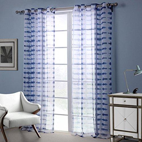 Gwell blu trasparente voile tende con occhielli tenda con occhielli tenda decorativa per soggiorno camera da letto della confezione singola, tessuto, blau, 213x132 (hxb), stück x1