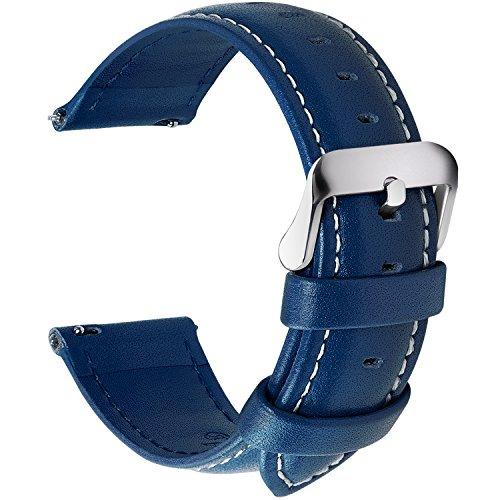 Fullmosa 12 Farben Uhrenarmband, Axus Serie Lederarmband Ersatz-Watch Armband mit Edelstahl Metall Schließe für Herren Damen 14/16/18/20/22/24mm, Dunkelblau 24mm