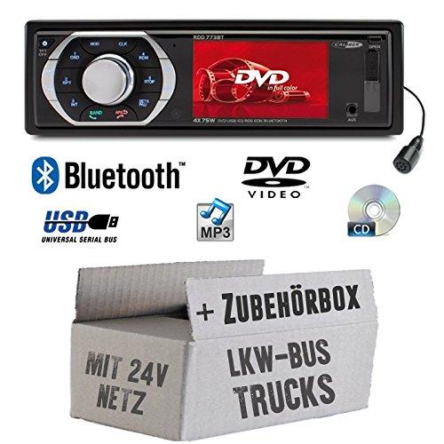 LKW Bus Truck 24V 24 Volt - Autoradio Radio Caliber RDD773BT - Bluetooth | DVD/CD | MP3 | USB | SD | TFT - Einbauzubehör - Einbauset (24 Volt Radio)