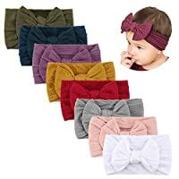 Makone Handmade Stretchy Nylon Headband with Bows Pom Pom Bun 5.5 inch Big Hair Bow Headband for Infant Baby Girls-8PCS Tie Bows