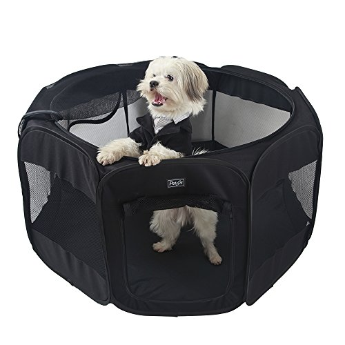 Petsfit Fabric Portable Pet/Dog/Cat/Rabbit Play Pen, Outdoor Soft Play Cube with Top Zipper 120cm x 120cm x 64cm, Black, Large