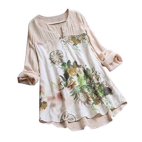 iHENGH Damen Sommer Bequem Mantel Lässig Mode Jacke Frauen mit Langen Ärmeln Vintage Floral Print Patchwork Bluse Spitze Splicing Tops