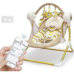 YANHTSO Chaise berçante électrique pour Enfants Lit Berceau électrique inclinable Confort Chaise berçante Chaise pour Enfants balançoire (Couleur : Or)