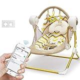 YANHTSO Chaise berçante électrique pour Enfants Lit Berceau électrique inclinable...