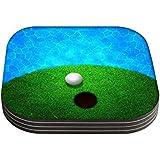 Snoogg Ball nahe Wasser Golf Hintergrund Damen tragen Lang Griff Shopper Tote klein
