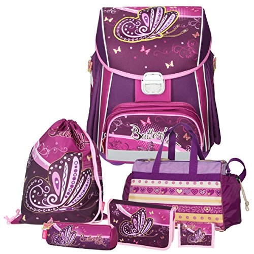 Spirit Purple BUTTERFLY - Schmetterling - Leicht-Schulranzen-Set Mädchen 1.Klasse 6teilig mit SCHULSPORTTASCHE boi