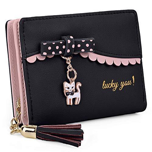 Uto donna portafoglio per ragazze piccolo carina pelle sintetica titolare della carta organizzatore ragazze piccolo carina porta monete