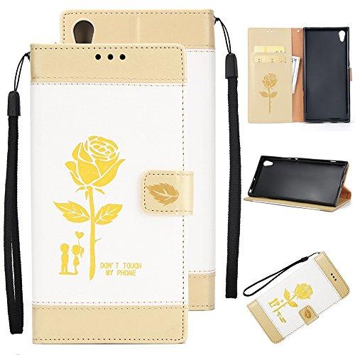 Gemischte Farben Rose Blume matt Premium PU Leder Brieftasche Stand Case Cover mit Lanyard & Card Slots für Sony Xperia XA1 UITRA ( Color : Brown ) White
