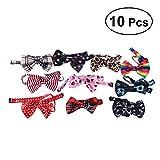 UKCOCO 10Pcs Netter Fliegen für Haustier Hund, Hundehalsband, Bedrucken Krawatten, Verstellbare Hund Krawatten (Zufällige Art)