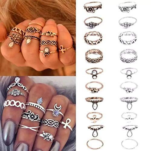 Reffles Golden Brass Small Size Vintage Ring Set Jewelry for Mid Finger for Women -10 Pieces