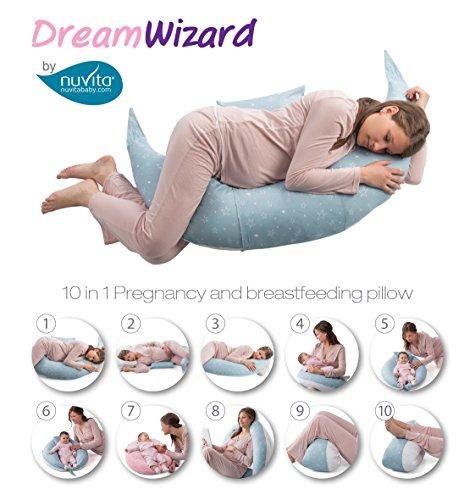 Nuvita 7100 DreamWizard Almohada de embarazo y Lactancia - Multifunción 10 en 1 con Soporte Lumbar Ajustable - Cojín de Lactancia y Bebé - Dispositivo Médico Clase 1A - Fabricado en Italia (Grey Star)
