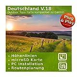 Deutschland V.18 - Profi Outdoor Topo Karte kompatibel zu Garmin Navigation - Zum Wandern, Geocachen, Bergsteigen, Radfahren, Radtour