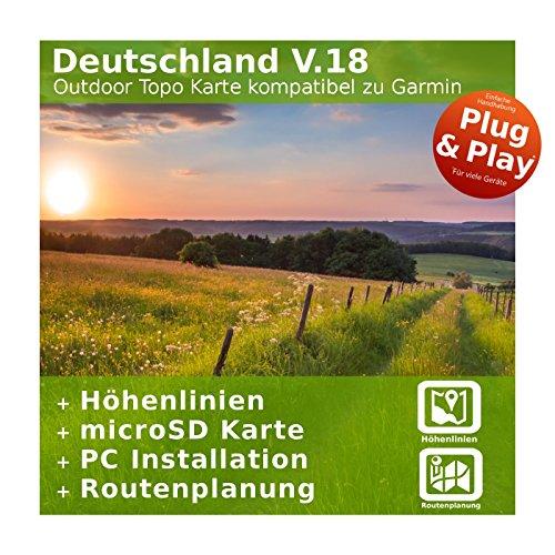 Deutschland V.18 - Profi Outdoor Topo Karte kompatibel zu Garmin GPSMap 64, GPSMap 64st