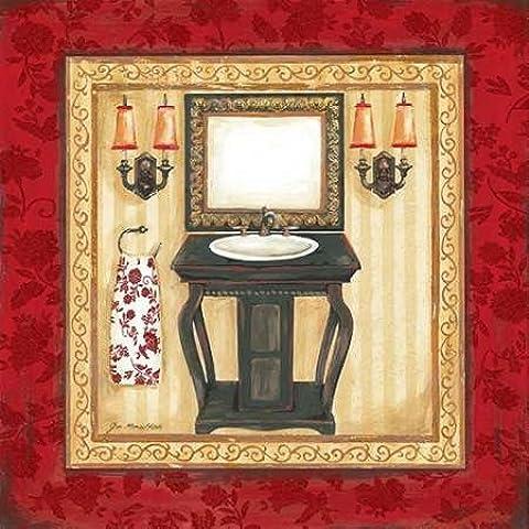 Rojo Demask baño II por Moulton, Jo - impresión de la bella arte disponibles sobre tela y papel, lona, rojo, SMALL (12 x 12 Inches )