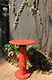 Dipamkar Industrial Style Metal Bistro Table Pub Table Side Table Coffee Table with Fire Hydrant Base in Vibrant Red Kitchen Garden Bar Furniture Φ60cm