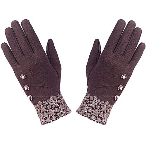 Kakiyi 1 Paar Touch Screen Winter Handschuhe Frauen Mädchen im Freien Reithandwärmer Blumen Fuzzy-Kugel Fäustlinge