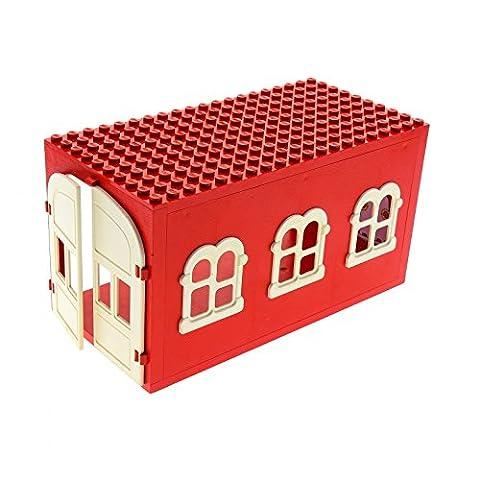 1 x Lego Fabuland Gebäude rot Garage Haus mit Tür