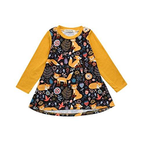 Kinderbekleidung,Honestyi Neueste Modell Niedlich Kleinkind Kinder Baby  Mädchen Karikatur Fuchs Drucken Sonne Kleid Kleider Outfits Printkleider Partykleider Minikleid Tops Shirts (5T/120CM, Gelb)