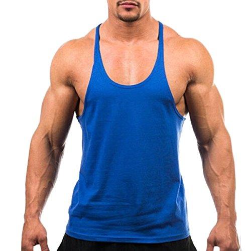 Fletion Herren Sommer Bodybuilding Tank Top Sport-Fitness-Shirts Sport Weste Training Vest Baumwolle Männer Weste Königsblau