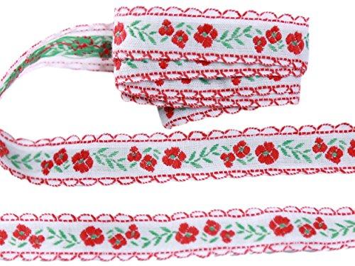 Beaux motifs floraux Rubans en coton brodé Ruban en dentelle 16mm Large M2747/15 (5 Mètre, Blanc avec motif rouge et vert)